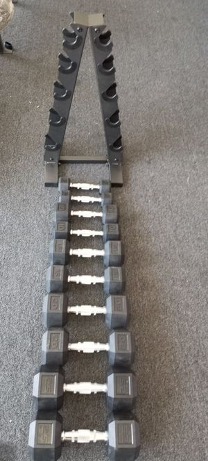 Dumbbells set .2x25.2x20.2x15.2x10.2x5.lbs.and rack. Brand new in box for Sale in Long Beach, CA