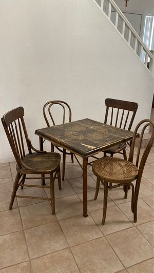Vintage/ Antique 1930's Tubular Folding Card Table by Shwayder Bros. and 4 Wooden Chairs for Sale in Las Vegas, NV