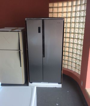Hi sense stainless steel side-by-side refrigerator, counter depth, 68 1/2 inches tall, 36 inches wide for Sale in Affton, MO