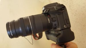 Canon EOS D10 with ultrasonic zoom 75-300 lens extended battery pack charger for Sale in Los Angeles, CA