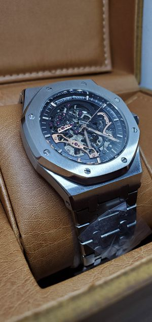 men's stainless steel skeleton watch black face wristwatch luxury fashion for Sale in IND HEAD PARK, IL