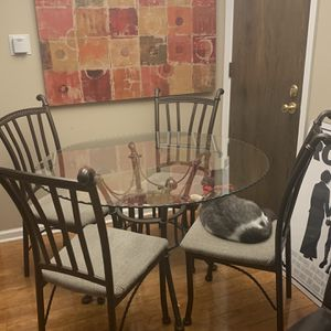 48 Inch Glass Round Table, Chairs & Baker Rack for Sale in Arlington Heights, IL