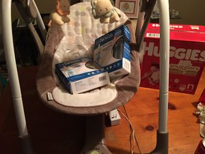 Ingenuity swing box's of dr browns bottles and 128ct huggies diapers for Sale in Jackson, SC