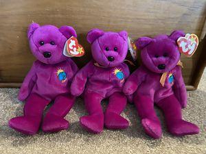 Set of 3 millennium beanie babies bears for Sale in Edgewood, WA