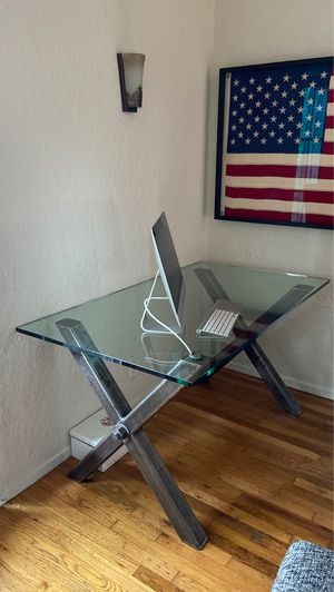 Custom Designed Modern Industrial Glass Top Metal X Base Desk for Sale in Beverly Hills, CA