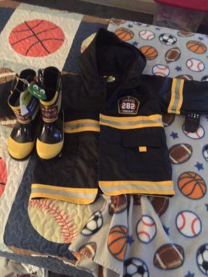 Firemen rain coat n boots for Sale in Pittsburgh, PA