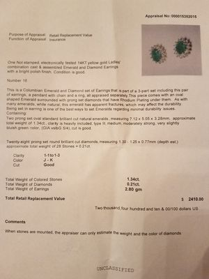 Columbian Emerald and Diamond earrings and pendant set for Sale in FX STATION, VA