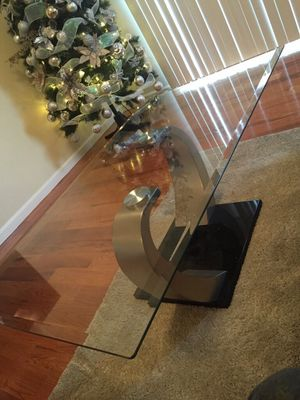 Glass chrome table crack on glass for Sale in Franklin, TN
