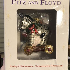 Fitz and Floyd Zebra on Wheels Glass Christmas Ornament for Sale in Miami, FL