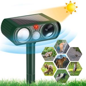 Dog Cat Repellent, Ultrasonic Animal Repellent with Motion Sensor and Flashing Lights Outdoor Solar Powered Waterproof Farm Garden Yard Repellent, Ca for Sale in Houston, TX