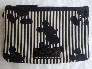 GUC! Dooney & Bourke Disney MICKEY Silhouette Black/White Stripe Canvas Wristlet for Sale in Centreville, VA