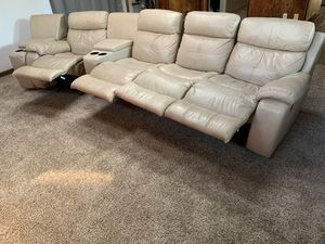 Tan Sectional Couch with 2 Entertainment Consoles. Each chair reclines. for Sale in Alamo, CA