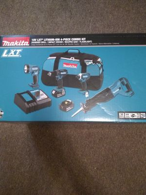 Makita 18v LXT Lithium-ion 4 - piece combo kit , hammer drill, impact driver, reciprocating saw, flashlight. Two batteries n charger included for Sale in Canton, TX