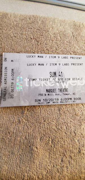 SUM 41 Concert / Sun 10/20 6pm $35 each for Sale in Phoenix, AZ