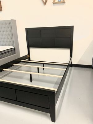 New Black Wood Bed Frame : Queen / King / Cal King : Mattress Set Sold Separately : Box Spring Required for Sale in Concord, CA