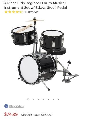 3-Piece Kids Beginner Drum Musical Instrument Set w/ Sticks, Stool, Pedal for Sale in Simi Valley, CA