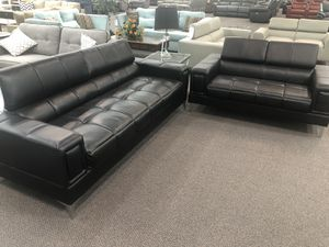 Only $50 Down! New Modern Couch / Love Seat. Black (or White) Leather. Free Delivery! for Sale in Buena Park, CA