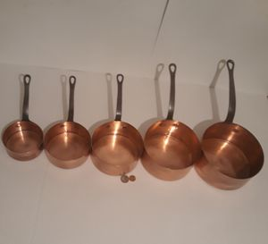 "5 Vintage Copper Cooking Pots, Cast Iron Handles, Quality Cooking Pots, The Longest One is 14 1/2"" Long and 7"" x 3 1/4"" down to the Smallest One of 9"" for Sale in Lakeside, CA"