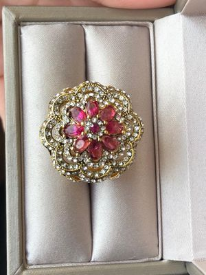Gorgeous!!! 18k Gold filled Ruby Sapphire Ring Size 8 for Sale in Saint Paul, MN