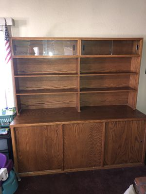 Solid Oak display and storage cabinet for Sale in Fowler, CA