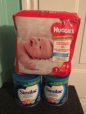 Formula para bebe y una paquete #1 de pañalales Huggies for Sale in Grand Prairie, TX