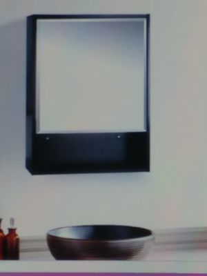 """(NEW) 22"""" CABINET BATHROOM* BLACK WOOD & SHELF MIRROR* WALL MOUNT* SIZE:22X28X6 INCHES* (FOR ASSEMBLY) for Sale in Brooklyn, NY"""