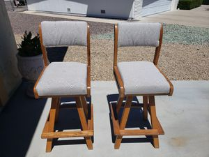 Bar Stools - Oak wood/new upholstered for Sale in Sun City, AZ