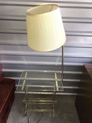 Corner glass desk with lamp for Sale in Wheat Ridge, CO