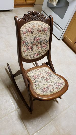 Antique Vintage Victorian Wood/Tapestry Folding Rocking Chair. 1880s $225 for Sale in Alpharetta, GA