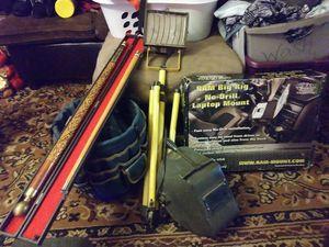 Pool stick, bucket ,light, welding helmet, and truck lap top mount for Sale in Fresno, CA