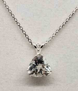 Natural 9x9mm Triangle Topaz Silver Necklace for Sale in Justin, TX