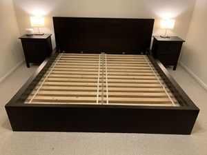 King size platform bed frame with matching night stands for Sale in Littleton, CO