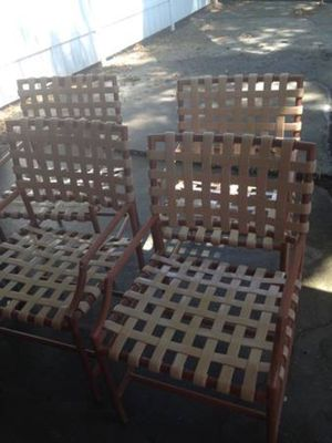 Four Metal Pool Chairs, Brown in Color for Sale in Orlando, FL