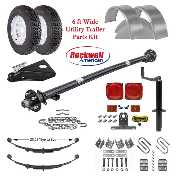 6ft Utility Trailer Parts Kit – 3,500 lb Capacity - Trailer parts, trailer tires, We carry all trailer parts - We can install