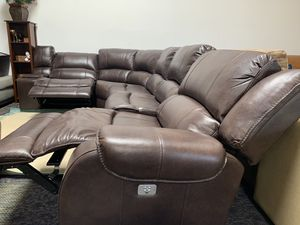 6 piece leather sectional couch with 2 power recliners and headrests for Sale in Corona, CA