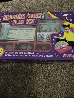 GirlZone Unicorn Money Play Set for Kids – Realistic Dollar Bills, Coins, Credit & Debit Cards & Checkbook. for Sale in Smyrna, GA