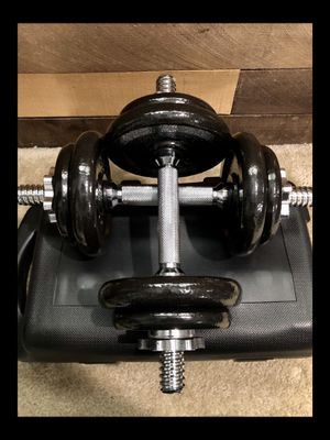Brand new pair 38 lb adjustable dumbbells with case (not negotiable) for Sale in Chula Vista, CA