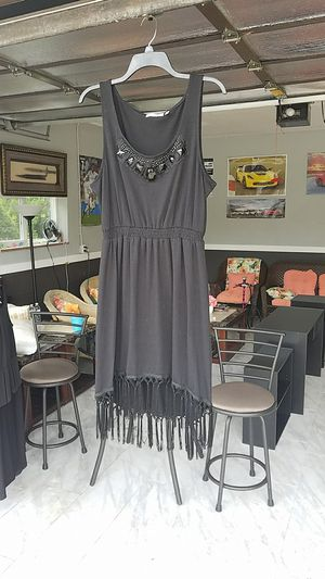 Black fringe bling dress worn once like new size large from Macy's for Sale in Dearborn Heights, MI