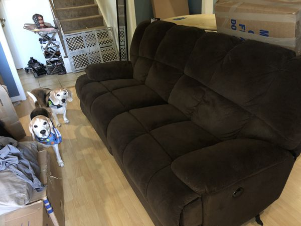 Brown 2 seater cloth power recliner