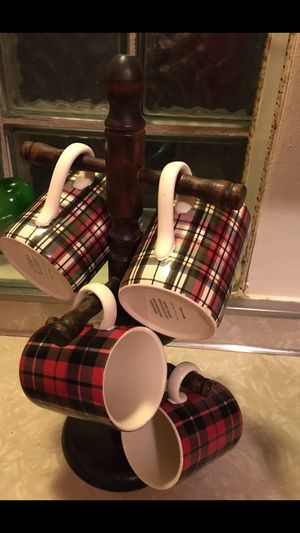 Four plaid pottery barn mugs and stand for Sale in Hinsdale, IL