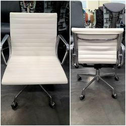 🔥SALE!!🔥LIKE NEW! 100% AUTHENTIC EAMES HERMAN MILLER ALUMINUM GROUP MANAGEMENT CHAIRS BEAUTIFUL WHITE LEATHER TILT TENSION HEIGHT ADJUSTABLE for Sale in Monterey Park,  CA