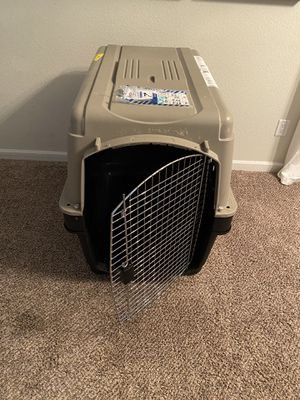 Tan Petmate Ultra Vari Kennel XL with custom metal extenders-$100 for Sale in Albuquerque, NM