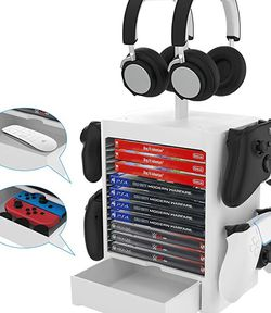 EJGAME Multifunctional Game Disk Storage Tower Holder for PS5,Game Disk Rack and Controller/Headset Stand Holder Compatible with Xbox Series X/Nintend for Sale in Missouri City,  TX