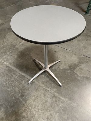 "24"" Round pedestal / cocktail table- table top is grey abs over plywood core - 3 available - like new for Sale in Ontario, CA"