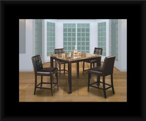 Marble tall table with 4 leather chairs for Sale in Hyattsville, MD