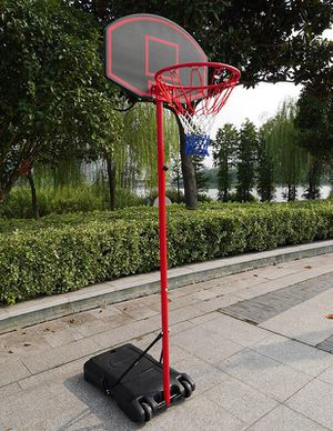 "(Brand New) $50 Junior Kids Sports Basketball Hoop 27""x18"" Backboard, 5ft-7ft Adjustable Stand w/ Wheel for Sale in South El Monte, CA"