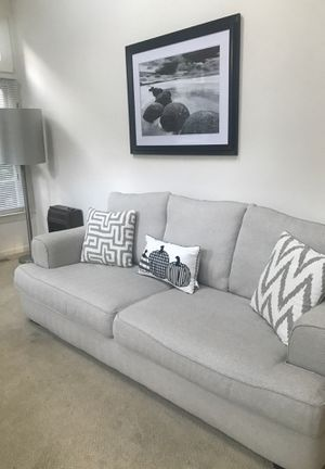 Sofa with a large armchair cream color in excellent condition six months old moving sale for Sale in NO POTOMAC, MD