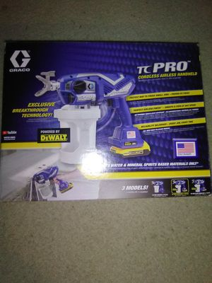Graco tc pro airless paint sprayer powered by DeWalt 20 volt batteries brand new for Sale in Federal Way, WA