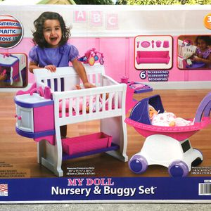 NEW American Plastic Toys Doll House Stroller Nursery & Buggy Set for Sale in Santa Ana, CA