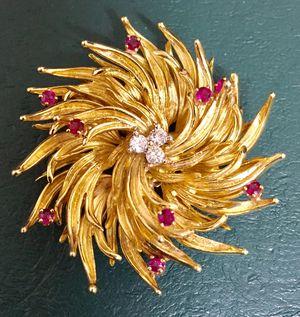 Diamond & ruby 18K Tiffany pin / pendant for Sale in Rockville, MD